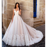 Wholesale Nude Embellished Gown - 2017 Nude Pink Princess Ball Gown Wedding Dresses Illusion Sheer Jewel Neck Lace Embellished Back Gorgeous Bodice Bridal Gowns