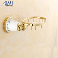 Wholesale Golden Base - G 730Series Golden Polish Porcelain Base Soap Network Wall Mounted Soap Dishes Bathroom Accessories
