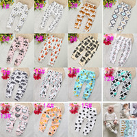 Wholesale Elastic Waist Denim Leggings - 15 Design kids INS pp pants fashion baby toddlers boy's girl's animal raccoon panda tent wheels geometric figure pants trousers Leggings