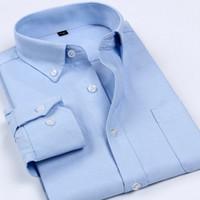 Wholesale Dress Fabric Textile - Wholesale- Envmenst Brand 2017 Spring New Men's Oxford Textile Fabric Shirt Men Long Sleeve 14 Colors Turn-down Collar business Shirt