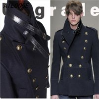 Wholesale Single Button Pea Coat - Wholesale- Gothic Those Days Clothing British Winter Slim Fit Navy Blue Blazer Wool Mens Pea Coat Trench Long Jackets Coats For Men, M-XXL