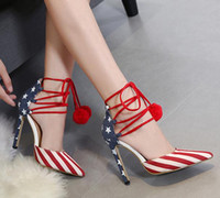 Wholesale Stripes Stilettos High Heels - Size 40 Denim Cloth American Flag Stars Stripes High Heels Shoes Platform Pumps Stiletto