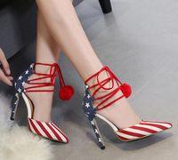 Wholesale High Heels Flag Pump - Size 40 Denim Cloth American Flag Stars Stripes High Heels Shoes Platform Pumps Stiletto