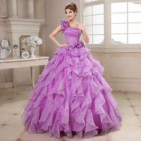 Wholesale One Shoulder Debutante Dresses - Quinceanera Dresses 2017 New Arrival Flowers One-shoulder Floor-length Ball Gown Lace Masquerade Ball Dresses Debutante Gown