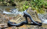 Wholesale Wedge Boots Online - Best waterproof hiking shoes for men! 2017 grey brown outdoor hiking shoes men online cheap sale!