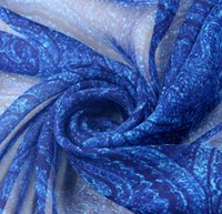 Fabric Cotton Multi-Colored Wholesale ( 5Meters lot) Width 135cm 100% Real Mulberry Silk Chiffon Print Blue Paisley Pattern Fabric For Dress DIY Sewing