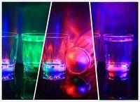 Wholesale Decorative Glass Diamonds - Mini Luminous Flash light LED Small Wine Glass Colorful KTV concert bar special Drinkware Flashing Plastic Beverage Wine Cup Decorative Mug