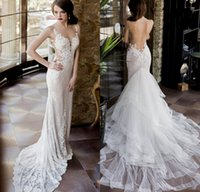 Wholesale Plunging Neckline Mermaid Wedding Dresses - 2017 Vintage Lace Wedding Dresses with Detachable Skirt Mermaid Wedding Gowns Backless Sexy Plunging Neckline SexyNew Arrival Bridal Gowns