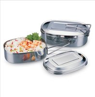 Wholesale Stainless Steel Food Container Wholesale - Single layer Stainless Steel Bento Box Tableware Portable Durable Dinner Bucket Delimited Food Container Lunch Square Lunch Box KKA1925