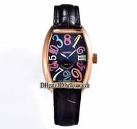hora loca ver al por mayor-Alta calidad HORAS CRAZY 8880 CH Dial negro para hombre automático Correa de cuero de oro rosa Reloj deportivo de alta calidad