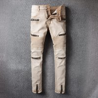 Wholesale Color Skinny Jeans For Men - Jeans for men Distressed Ripped Biker Moto Denim Jeans Pants Slim Fit Zipper Jean Color Khaki