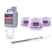 Wholesale Dappen Nail - Wholesale- 6pcs set Acrylic Powder Artificial Nail Tips 120ML Liquid Pen Brush Dappen Dish