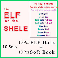 Wholesale Doll Sets - Christmas Elf Doll Plush toys Elves Xmas dolls and Soft Back Books on the shelf Christmas Gift 10 Set