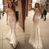 Wholesale Ho Wedding Dresses - Berta Mermaid Wedding Dresses Sexy Back Sheer Sweetheart Bridal Dress Lace Bo Ho Wedding Gowns Plus Size