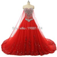 Wholesale Sequin Tube Top Dresses - New Real Bandage Tube Top Crystal Luxury Beaded Red Vestidos De Novia Casamento Wedding Dresses 2017 Bridal Gowns