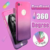 Wholesale Plastic Flim - 360 Degree Gradient Color Coverage Full Body Protection Hard PC Slim Cover Case For iPhone X 8 plus 7 6 6S 5S SE Hybrid Tempered Glass Flim