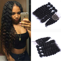 Wholesale weft hair weaving extensions closure online - 8A Brazilian Deep Wave Curly Hair Bundles with Closure Free Middle Part Double Weft Human Hair Extensions Dyeable Human Hair Weave