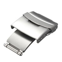 Wholesale Watchband 24mm - Best Quality 16mm 18mm 20mm 22mm 24mm Stainless Steel WatchBand Strap Double Press Button Clasp Buckle For Watch