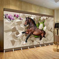 Wholesale Horse House - 3d huge mural papel de parede horse coming for bedroom& living room sofa tv wallpaper murals