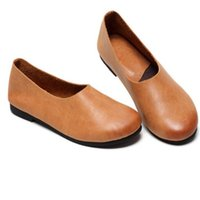 Wholesale Genuine Leather Wear - Whensinger - 2017 Woman genuine leather Shoes flats Handmade Genuine Retro Lady Shoes women Two Ways To Wear