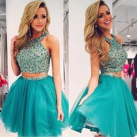 Wholesale Beaded Ball Gown Prom Dresses - Two Piece Short Prom Dresses Tulle Beaded Crystal Halter Blue Homecoming Gown 2017 Mini Short Ball Gown Short Prom Dress Sweet 16