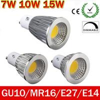 Wholesale Mr16 Led Cree 7w - LED lights GU10 Bulbs Light Dimmable Warm White 110V 220V 7W 9W 10W 15W GU10 GU5.3 COB LED lamp light E27 E14 MR16 12V led Spotlight