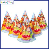 Vente en gros-2016 voiture 6pcs Winnie poo Party casquette Décoration Cute Enfant modèle anniversaire Paper Hat Event Enfants Party Supplies