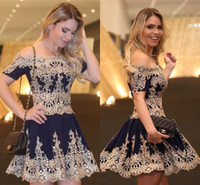 Wholesale Low Back Club Dresses Images - Dark Navy Short A Line Homecoming Dresses with Bateau Cap Sleeves Gold Decals Mini Party Dresses Low Back Zipper Short Prom Dresses 2017