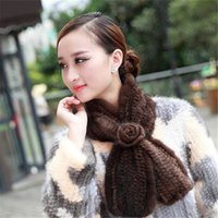 Wholesale Real Mink Stole - Wholesale- 2015 Real Genuine Knitted Mink Fur Scarf Shawl with Tassel Muffler Women Winter Neck Collar Stole