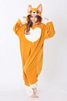 Wholesale Dog Onesie - HappyBuy Corgi Dog Costume Adult Kigurumi Pajamas Animal Onesie Pajamas Women Cozy Fleece One Piece Pajamas Sleepwear