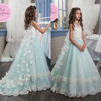 Wholesale Dress Kid Flora - 2017 New Cute 3D Flora Lace Appliques Flower Girls Dresses with Cap Princess Jewel Neck Beaded Sash Floor Length Kids Formal Wear Gowns
