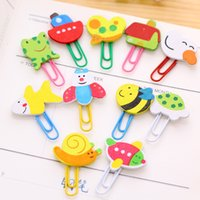 Wholesale Wooden Clip Draw - Wholesale- 12pcs lot Cartoon wooden paper clips cute animals clip bookmarks coloured drawing or pattern