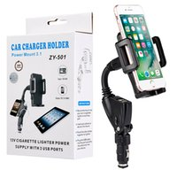 Wholesale Iphone Cigarette Charger Holder - Car Holder Phone Mounts with Dual 2A USB Charger Plug Cigarette Lighter Stands 360 Degree Rotating Clip for Samsung Galaxy iPhone