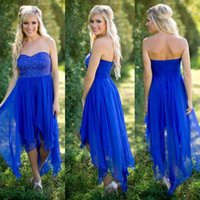 2017 Billig Land Royal Blue Kurz Brautjungfer Kleider Teal Sommer Sequins Beaded Hi-Lo Eine Linie Brautjungfer Kleider Hochzeit Party Kleider