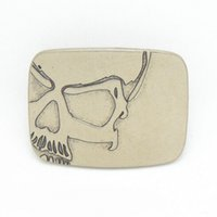 Wholesale Jeans Skull Belts - Newest Rectangular Silver skull belt buckles with pewter Fashion Mens Womens Jeans accessories fit 4cm Wide Belt