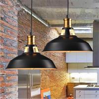 Wholesale edison style light bulbs - 2017 Industrial retro style Art LED Pendant lighting black white shell Edison LED light bulbs pendant lamp Hanging Light