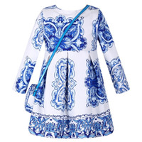 Wholesale European Bohemian Dresses - Long Sleeve Dress Girl Christmas Dress 2016 Autumn Winter Floral Print Toddler Girl Dresses Kids Clothes Children Dress with Bag