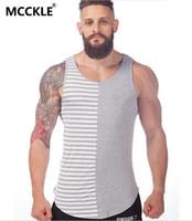 Wholesale Wholesale Mens Striped Shirts - Wholesale- New Mens Shirts Stripe Pattern Men Sleeveless T Shirt Back Long Muscle Tank Tops For Men Wholesale & Retail Q1497