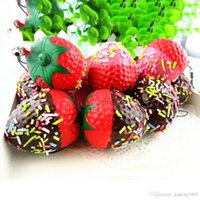 Wholesale Diy Flatback Embellishment - 1PC Kawaii Flatback DIY Miniature Strawberry Squishy Bread Keychain Charm Strap Scrapbooking Embellishment Decoration Crafts