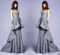 Wholesale Grey Peplum Dress - Elegant New 2018 Collection Long Grey Evening Gowns With 3d Floral Embellishments Lace Strapless Neckline Pageant Party Dress Gowns for Prom