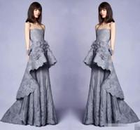 neue kollektionen abendkleider großhandel-Elegante neue Kollektion 2019 lange graue Abendkleider mit 3D-Blumenverzierungen Lace trägerlosen Ausschnitt Pageant Party Kleid Kleider für Prom