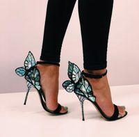 elmas saplı yüksek topuklu sandalet deri toptan satış-Sophia webster Evangeline Melek-kanat yüksek topuk Sandalet Yeni Kelebek Taklidi Çivili Deri Sandalet Güzel Topuk Sandalet Ile EUR Boyutu 34-42