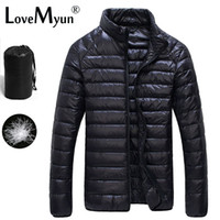 Wholesale Men S Down Winter Coats - Wholesale- Winter Duck Down Jacket Ultra light Men 90% Coat Waterproof Down Parkas Fashion mens Outerwear coat 5011