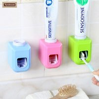 Wholesale Touch Free Wall Dispenser - Wholesale- Automatic Toothpaste Dispenser Squeezer Wall Mount New Touch Automatic Auto Squeezer Toothpaste Dispenser Hands Free Squeeze Out