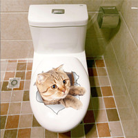 Wholesale Dog Piece - 3D Cats Wall Sticker Toilet Stickers Hole View Vivid Dogs Bathroom Room Decoration Animal Vinyl Decals Art Sticker Wholesale 0706026
