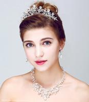 ingrosso accessorio di gioielli per capelli-Moda gioielli di cristallo fatti a mano collana orecchini set diadema accessori per capelli da sposa gioielli da sposa per spose