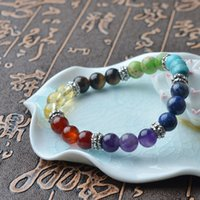 Wholesale Wholesale Spiritual Jewelry - 8mm 7Chakra Colorful Natural Stone Beads Crystal Bracelet For Women Braided Rope Bracelets Reiki Spiritual Yoga Jewelry