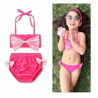 Wholesale Swimming Suits For Baby Girls - 2017 Ins Baby Girls Cute Swimwear Floral American flag 4th of July Bow Bikini Fashion Two Piece Swimming Suit For Children 17003