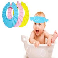 Wholesale Shower Cap Hat Waterproof - Baby Childen Kids Adjustable Shampoo Shower Waterproof Cap Baby Bathing Protection Eva Hat 3 Colors Avaibale