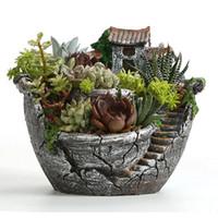 heimwerkzeugkisten großhandel-Harz Garten Kaktus Sukkulente Topf Kraut Blume Pflanzer Box Kindergarten Töpfe Hause Zimmer Dekor Ornament Garten Werkzeuge liefert